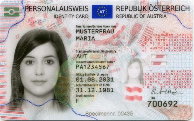 Personalausweis Vorderseite