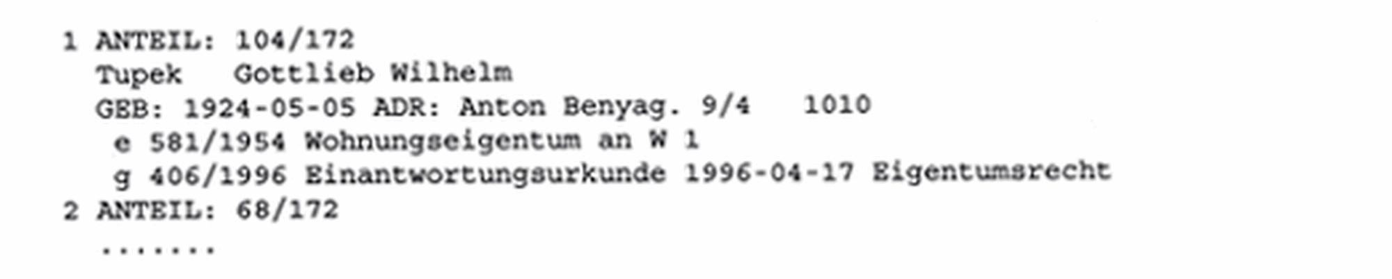Beispiel: Eintragung im B-Blatt